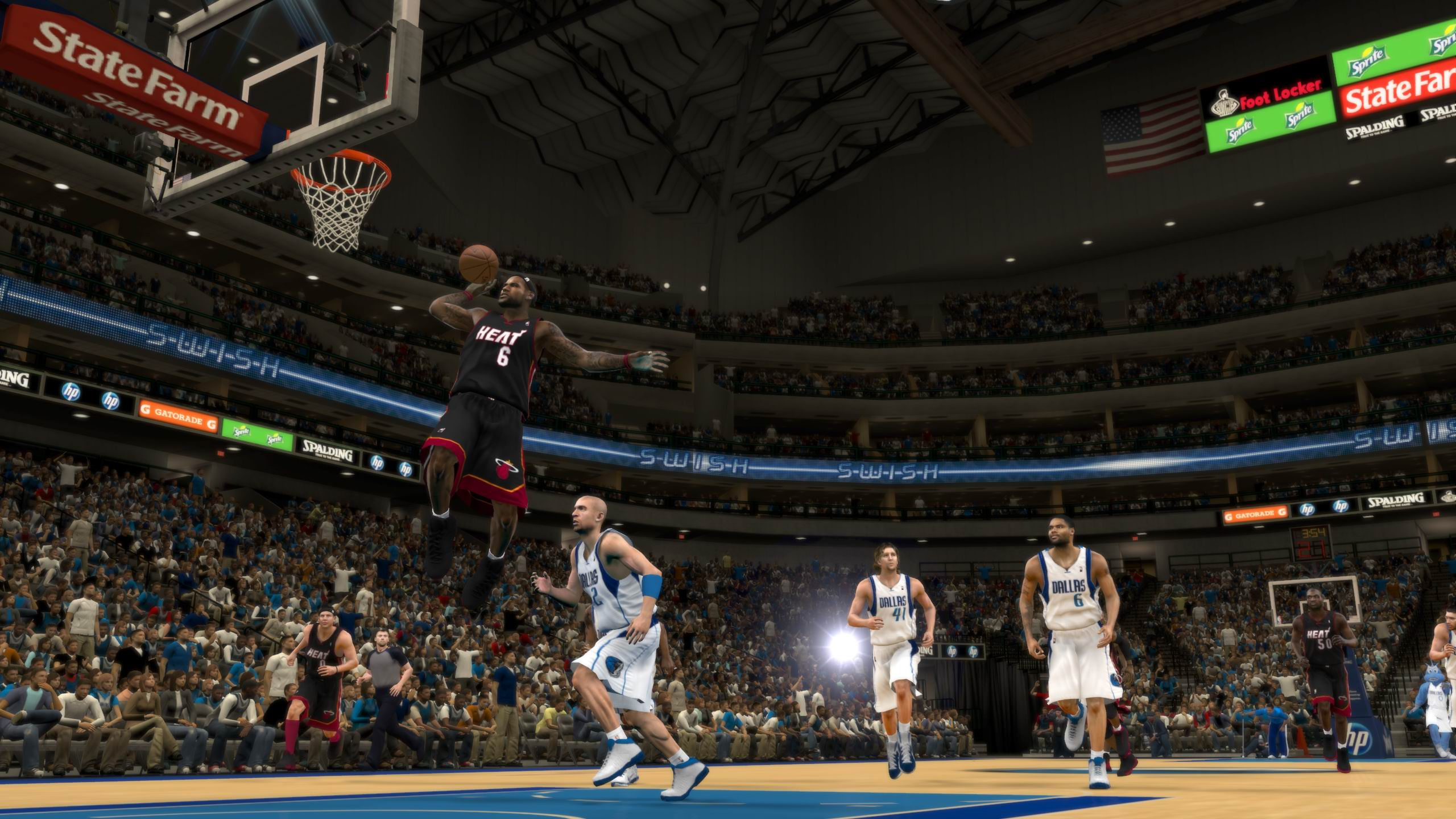 Lebron James dunk against Mavericks NBA 2K12
