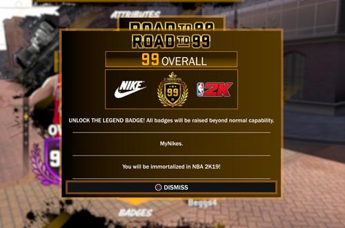 99 Overall Rewards in MyCAREER (NBA 2K18)