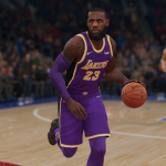 LeBron James dribbles the basketball in NBA Live 19