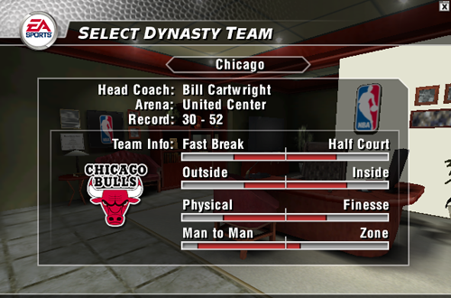 Select Dynasty Team in NBA Live 2004