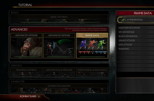 Tutorials in Mortal Kombat 11