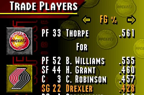 Trading in Season Mode (NBA Live 95 SNES)