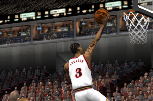 Allen Iverson lays it up in NBA Live 2002