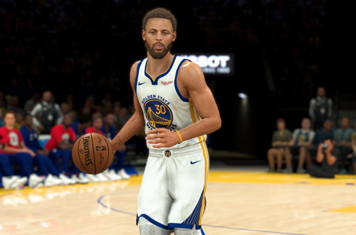 Steph Curry handles the basketball in NBA 2K21