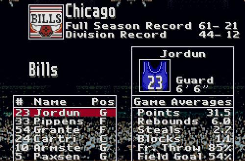 Chicago Bills Roster in Super Dunk Shot